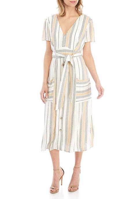 June & Hudson Short Sleeve Stripe Midi Dress