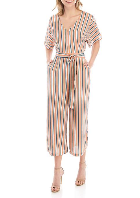 June & Hudson Short Sleeve Stripe Jumpsuit