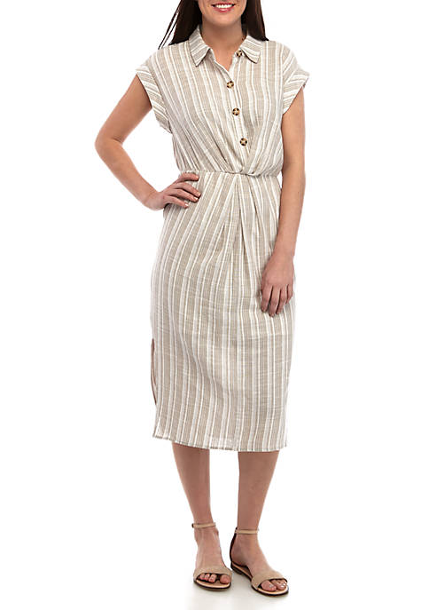 June & Hudson Short Sleeve Stripe Shirt Dress