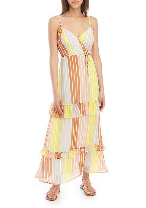 Sleeveless Stripe Chiffon Maxi Dress