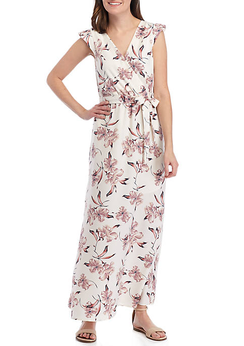 June & Hudson Cap Sleeve Floral Wrap Maxi