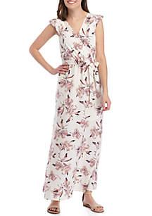 June & Hudson Cap Sleeve Floral Wrap Maxi Dress