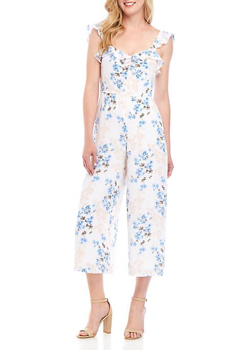 Sleeveless Floral Ruffled Jumpsuit