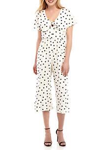 June & Hudson Short Sleeve Tie Front Jumpsuit