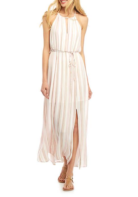 Sleeveless Chiffon Overlay Maxi Dress