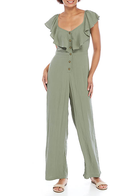 June & Hudson Sleeveless Ruffle Top Button Jumpsuit