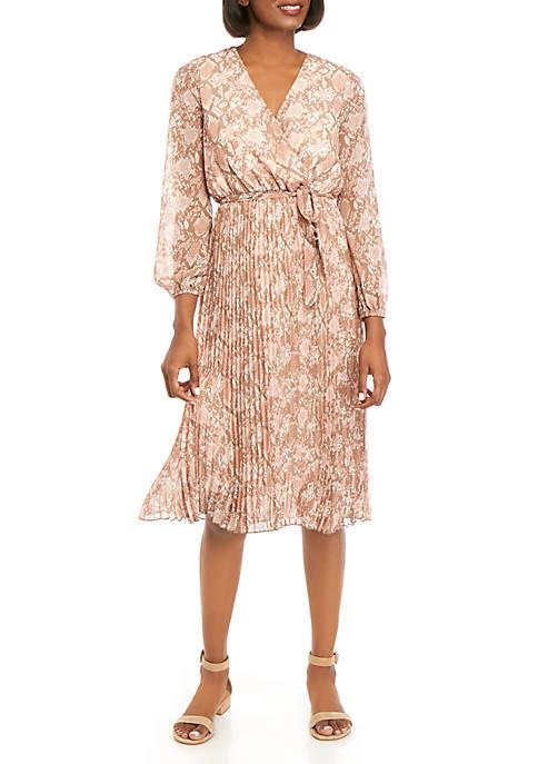 June & Hudson Womens 3/4 Sleeve Snakeskin Dress