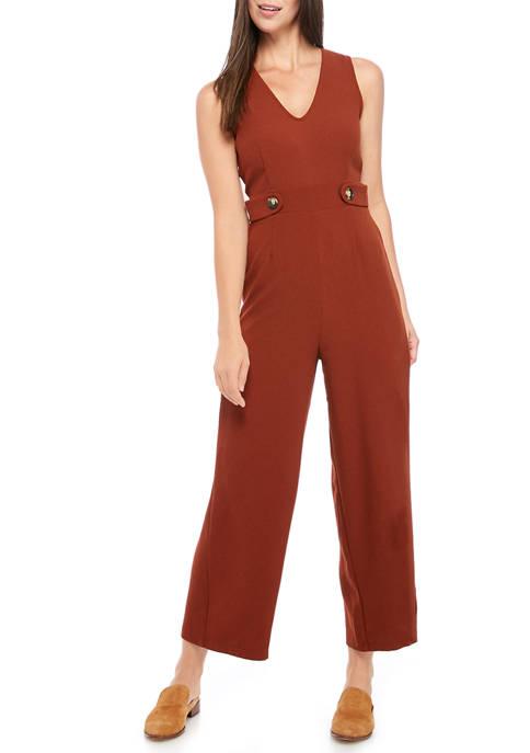 June & Hudson Womens Sleeveless Button Side Jumpsuit