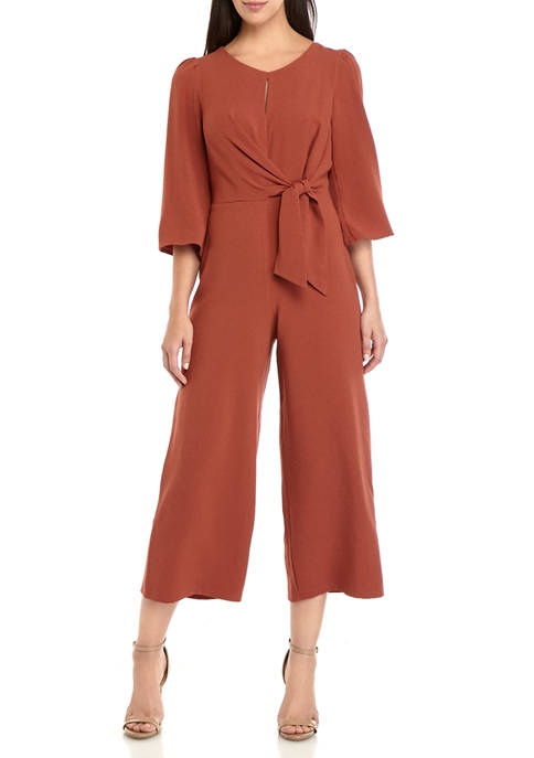 June & Hudson Womens Knot Front Jumpsuit