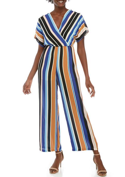 Womens Short Sleeve Wrap Stripe Jumpsuit