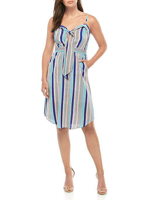 Sleeveless Striped Chiffon Dress