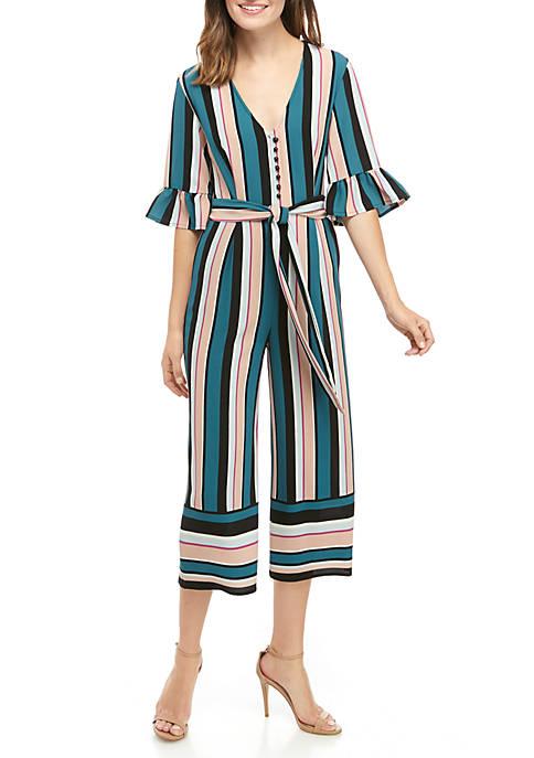 June & Hudson Stripe Ruffle Sleeve Jumpsuit