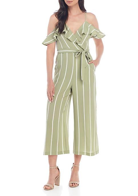 June & Hudson Sleeveless Ruffle Striped Jumpsuit