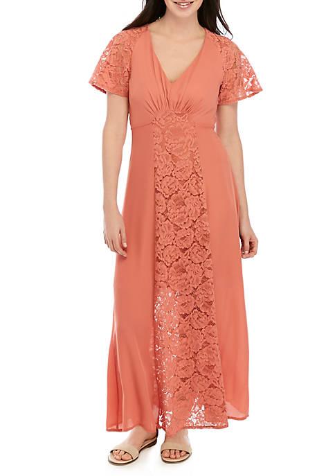 June & Hudson Short Sleeve Lace Inset Maxi