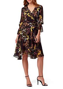 Tahari ASL 3/4 Sleeve Floral Chiffon Wrap Dress