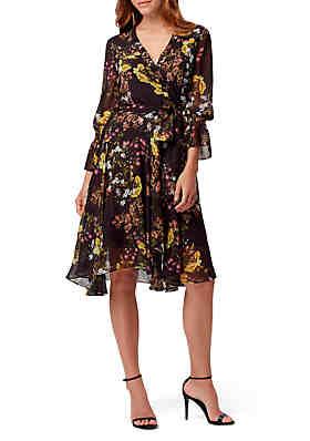 00fd698e51fe Tahari ASL 3/4 Sleeve Floral Chiffon Wrap Dress ...