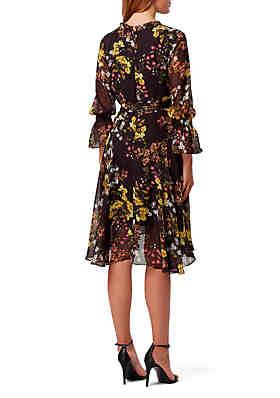 b895e6b70e8 ... Tahari ASL 3 4 Sleeve Floral Chiffon Wrap Dress