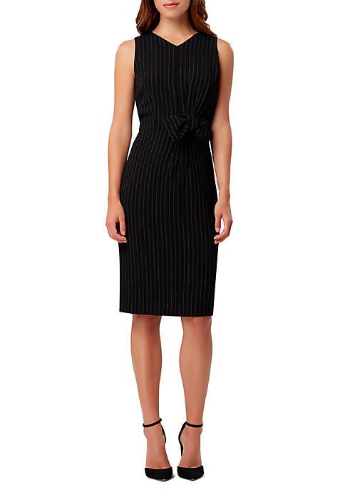 Stripe Bow Waist Sheath Dress