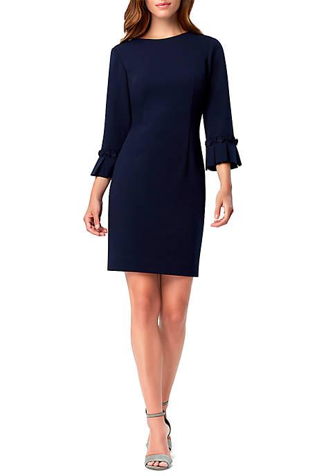 3/4 Sleeve Pleat Crepe Dress