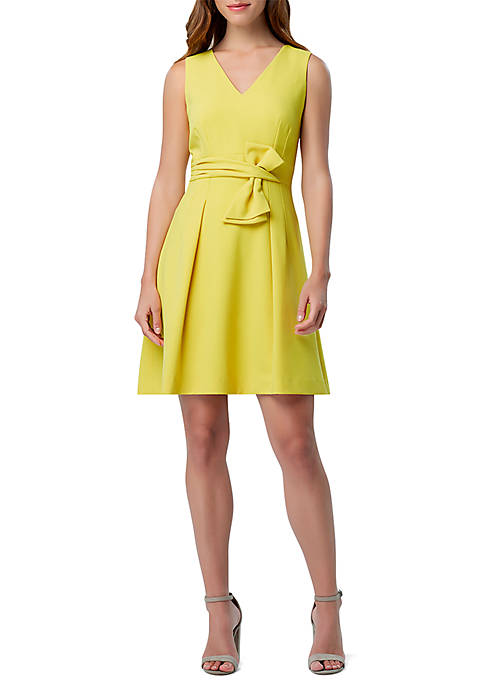 Tahari ASL Sleeveless Bow Waist Fit and Flare
