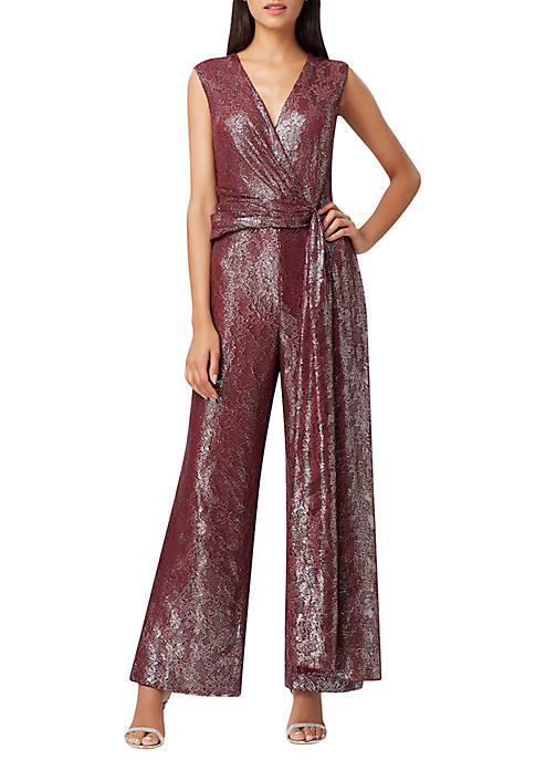 Sleeveless Foil Lace Jumpsuit