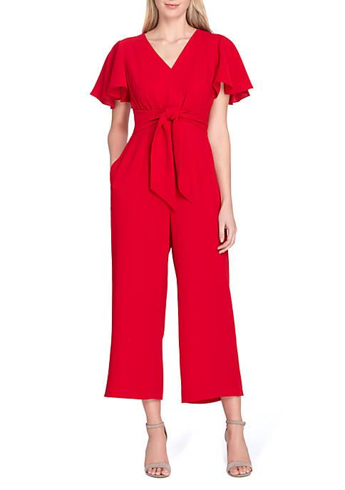 Short Sleeve Ruffle Crop Jumpsuit