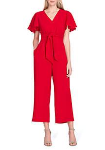 Tahari ASL Short Sleeve Ruffle Crop Jumpsuit