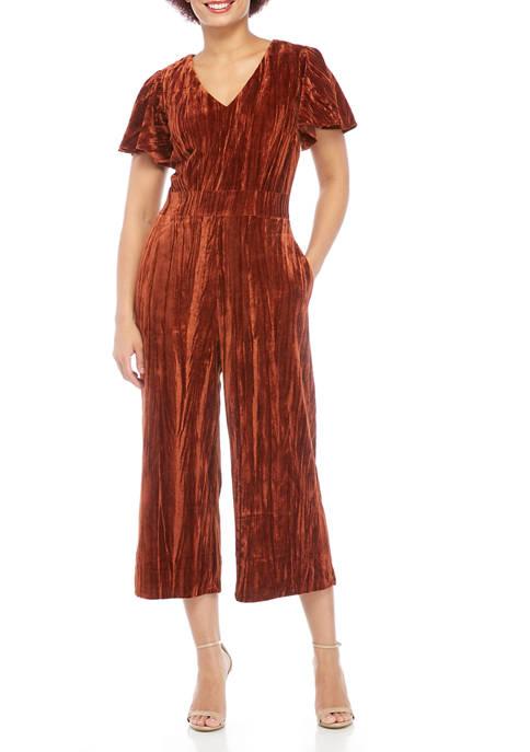 Womens Short Sleeve Crushed Velvet Jumpsuit