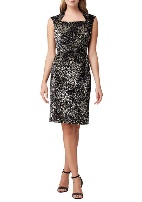 Womens Sleeveless Leopard Print Velvet Sheath Dress