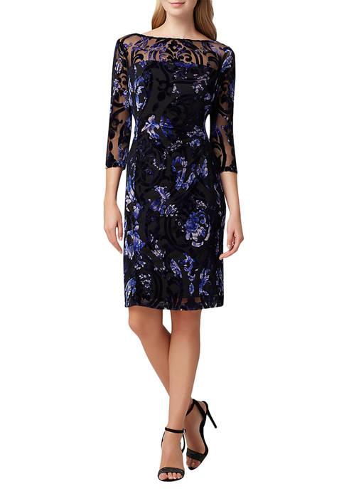 Womens Embroidered Burnout Sheath Dress
