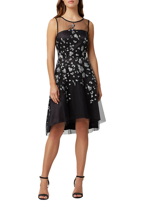 Womens Sleeveless Sequinned Fit and Flare Dress