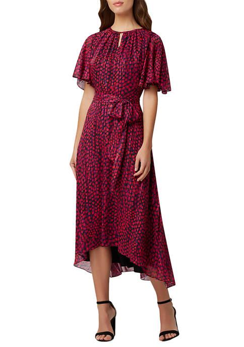 Tahari ASL Womens Chiffon Asymmetrical Hem A-Line Dress