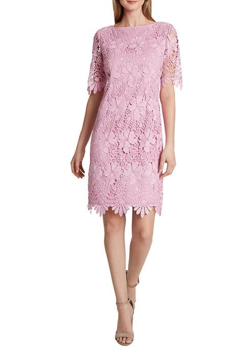 Womens Short Sleeve Lace Sheath Dress