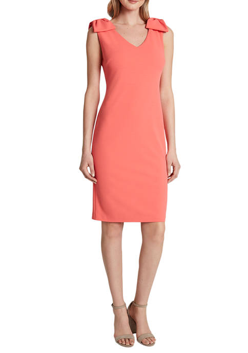 Tahari ASL Womens Sleeveless Scuba Crepe Shift Dress