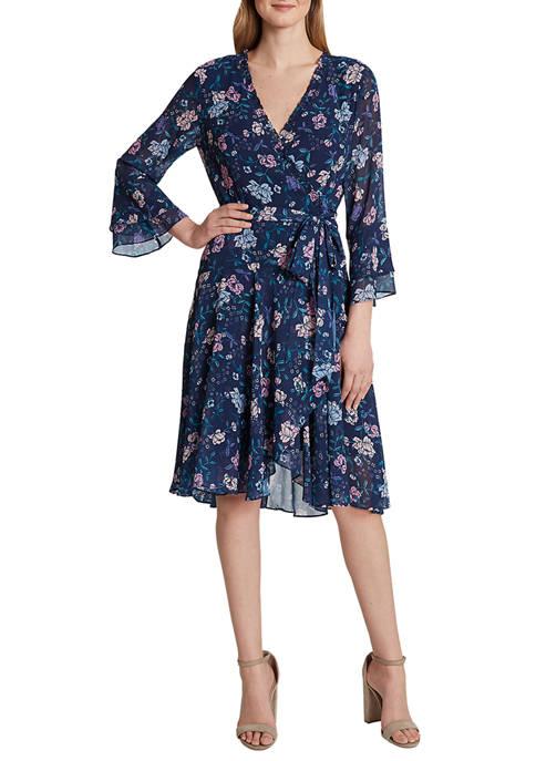 Tahari ASL Womens Long Sleeve Smocked Dress