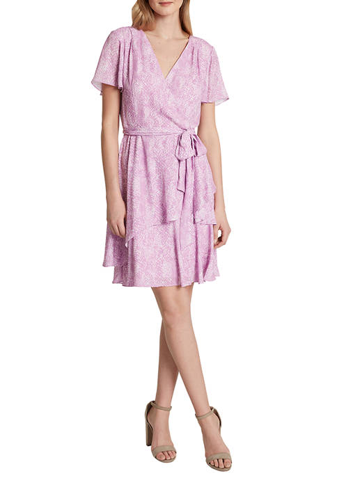 Womens Short Sleeve Surplice Wool Dobby Dress