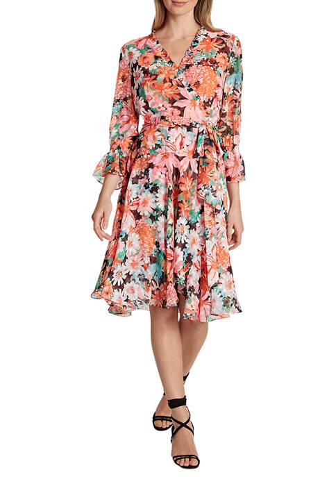 Womens Long Sleeve Surplus Smock Detail Dress