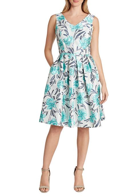Womens Sleeveless Jacquard V-Neck Party Dress