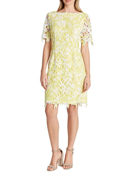 Tahari ASL Womens Short Sleeve Floral Lace Dress