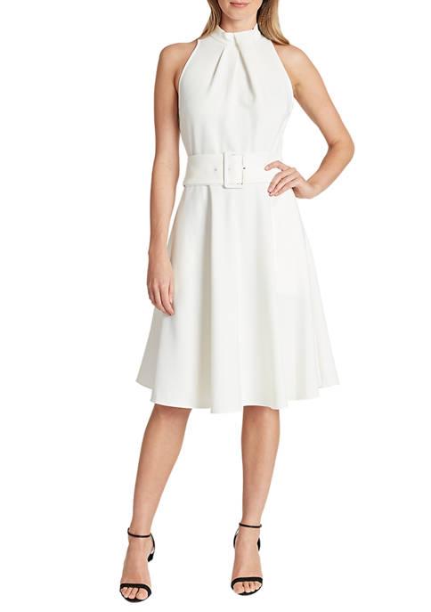 Womens Halter Neck Flare Skirt Dress