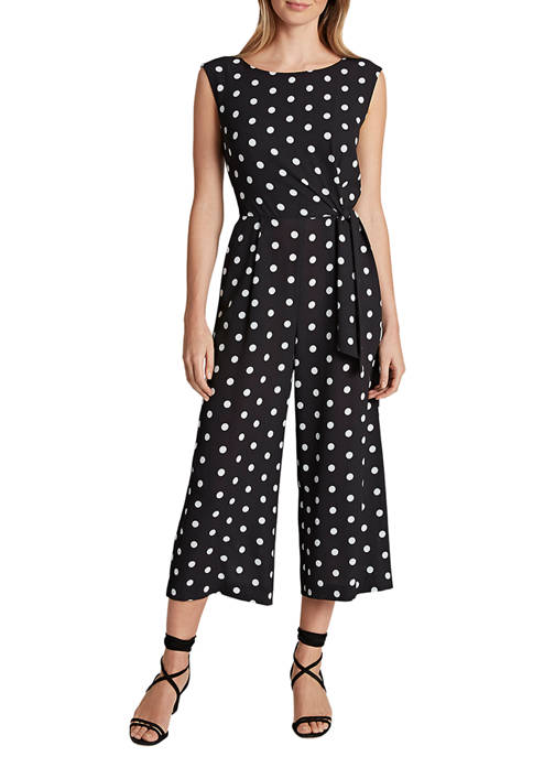 Womens Sleeveless Crepe Side Tie Jumpsuit