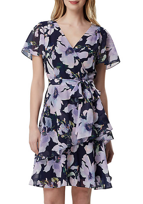 Short Sleeve Floral Chiffon Fit and Flare Dress