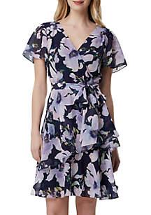 Tahari ASL Short Sleeve Floral Chiffon Fit and Flare Dress