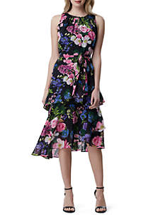 79bad037 ... Tahari ASL Sleeveless Floral Chiffon Asymmetrical Dress