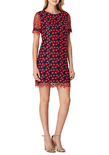 Tahari ASL Short Sleeve Chemical Lace A Line Dress