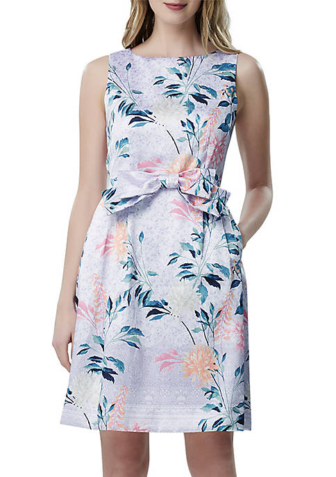 Tahari ASL Sleeveless Jacquard Fit and Flare Dress