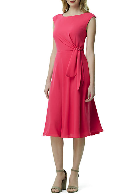 Sleeveless Crepe Side Tie Fit and Flare Dress