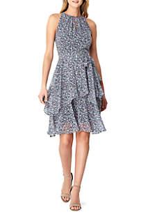 5c2a62d1ac05 ... Tahari ASL Sleeveless Printed Chiffon A Line Dress