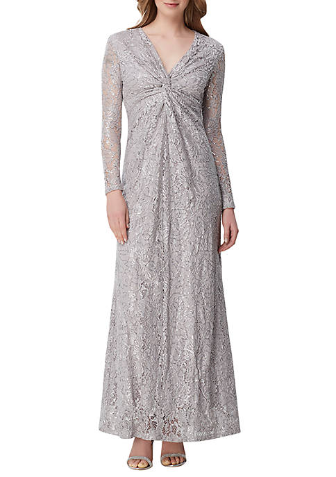 Tahari ASL Long Sleeve Twisted Front Gown