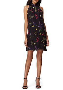 Tahari ASL Sleeveless Floral Chiffon Dress